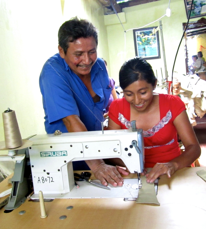 Silvio Cerda, owner of Sastrería Alren Textiles in Nicaragua, trained and hired this young woman to sew uniforms at his business. Now she can support herself and her family.
